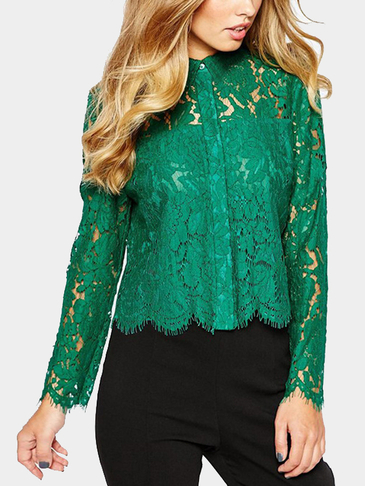 Green Long Sleeves Lapel Neck Lace Hollow Shirt