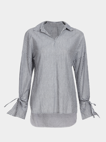 Black And White Stripe Pattern Pullover Shirt