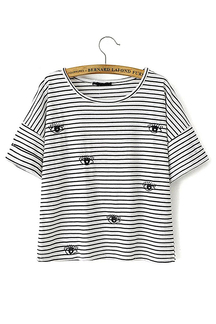 Stripe Eyelash Embroidery T-shirt