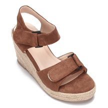 Brown Nubuck Look Woven Wedge Mules With Tassel
