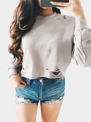 Light Grey Long Sleeves Round Neck Hole Cropped Sweatshirt