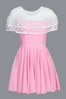 Pink See-through Mesh Layered Ruffled Pleated Dress