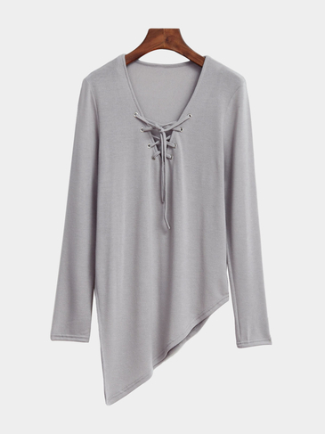 Grey Lace-up Irregular Hem Side Splited T-shirt