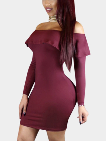Бургундия Sexy с плеча Flouncy Хем Bodycon платье