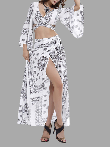 White Vintage Print Lace-up Flared Sleeve Crop Top & Wrap Split Skirt