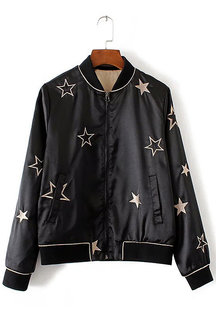 Star Embroidery Pattern Long Sleeves Side Pockets Bomber Jacket