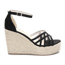 Black Cross Over Braid Wedge Sandals