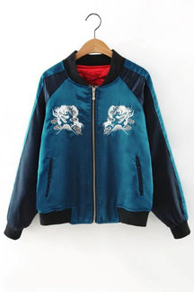 Embroidery Pattern Contrast Color Lining Bomber Jacket