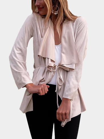 Apricot Casual Ruffled Collar Waist Tie Irregular Hem Jacket