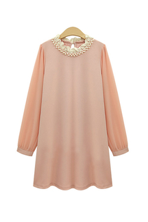 Plus Size Pink Chiffon Dress With Neckline Detail