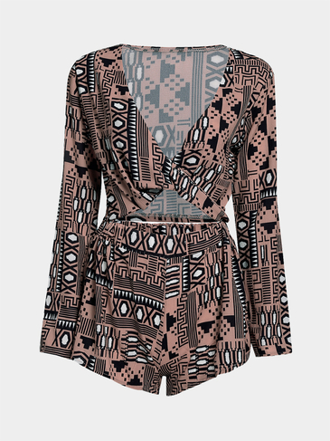 Cross Front Random Pattern Crop Design Short Set with Long Sleeves