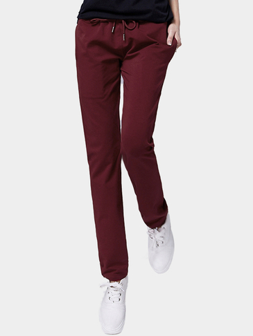 Burgundy Side Pockets Harem Trousers