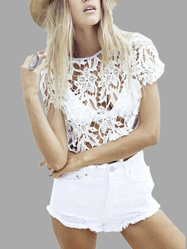 White Hollow Out T-shirt with Crochet Lace