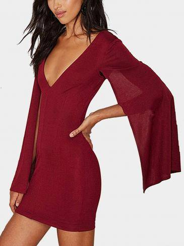 Burgundy V Neck Mini Dress with Cape Sleeves