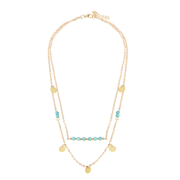 Turquoise Beaded Layered Girl Necklace