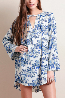 Blue Floral Print Shirt Dress with Flared Sleeves