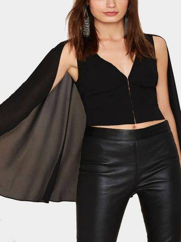 V-neck Sleeveless Crop Top with Shawl Details