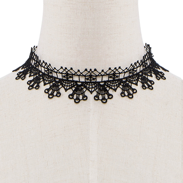 Black Wide Lace Choker Necklace