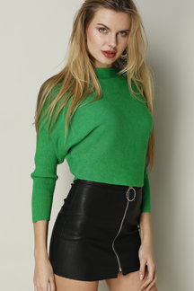 Green Sexy Pullover Bat Sleeves Loose Jumper