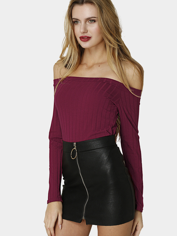 Burgundy Sexy Off-shoulder Ribbed Body-con Top