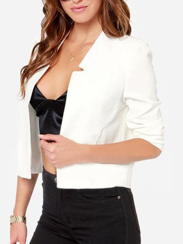 White Long Sleeves Open Front Crop Blazer