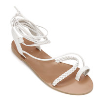 Light Grey Leather Look Woven Detail Lace-up Cross Flat Sandals