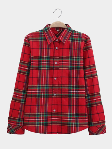 Fashion Grid Pattern Shirt In Red