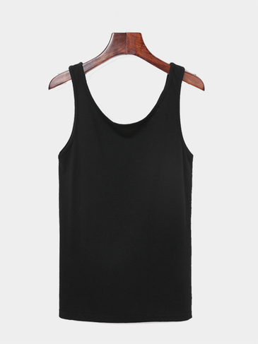 Black Open Back Cross Knot Vest