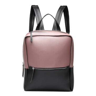 Pale Purple & Black Casual Front Pocket Backpack
