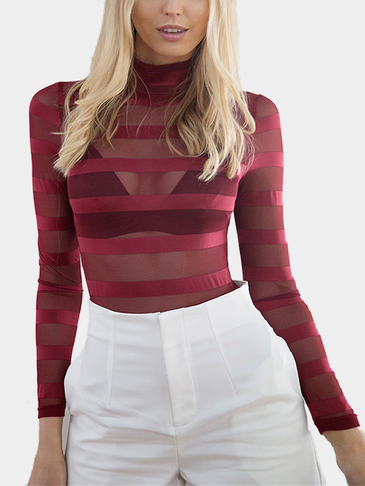 Burgundy Sexy See-through Stripe Long Sleeves Top