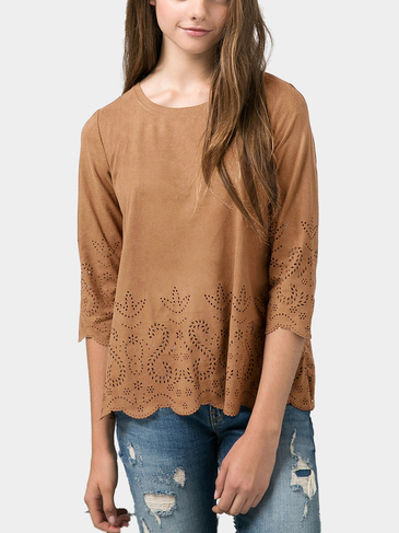 Top in Suede Cutwork