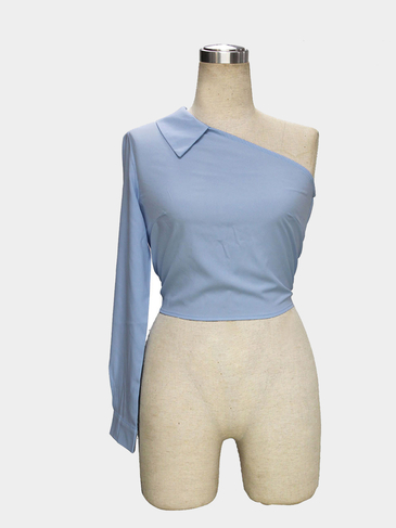 Off Shoulder Self-tie Waist Cropped Blouse in Light Blue
