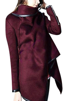 Burgundy High Neck Front Wrapped Trench Coat