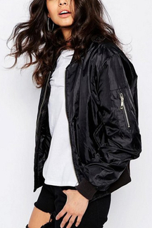 Black Fashion Zipper Bomber Jacket