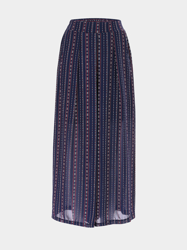 Navy Bohemian Print Stretch Waistband Wide Leg Trousers