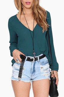 Dark Green V-neck Sheer Wrap Shirt
