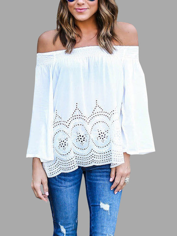 White Sheer-through Off Shoulder Chiffon Blouse