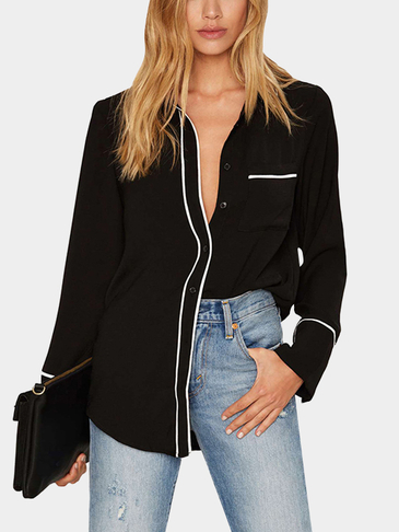 Black Lapel Collar Long Sleeves Causal Shirt
