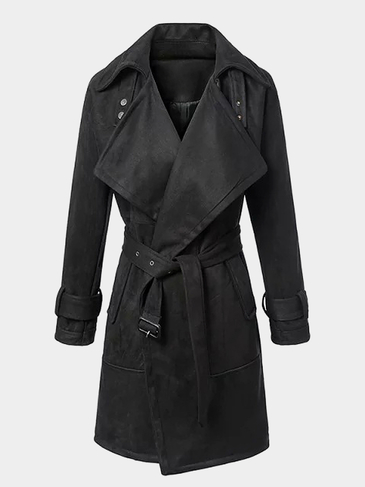 Suede Belted Trench Coat in Black