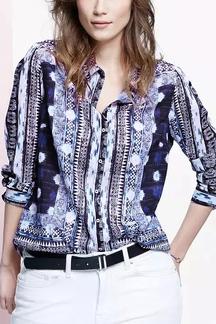 Geo Print Long Sleeves Shirt