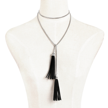 Silver Plated Long Length Metal Chian Tassel Necklace
