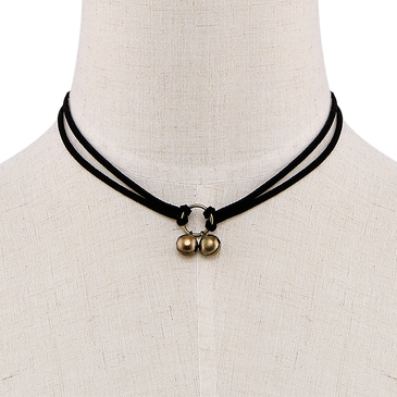Double-layered Tinkle Bell Pendant Choker Necklace