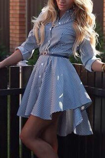 Dark Blue Striped Single Breasted Shirt Dress with Self-tie Waist