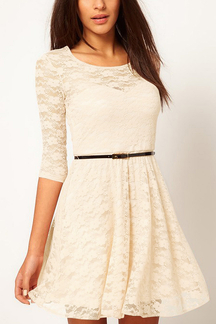 Cream Lace Skater Dress with Belt