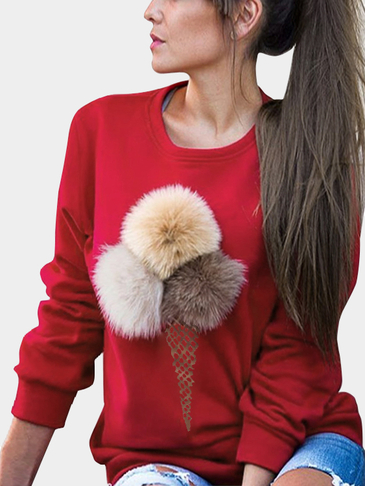 Fashion Red Round Neck Sweatshirt with Pom Pom Details