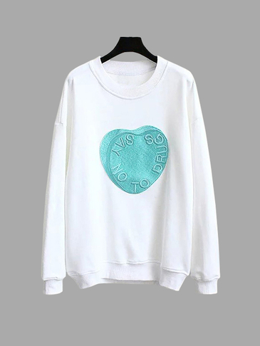 Casual Heart Pattern Sweatshirt with Crew Neck