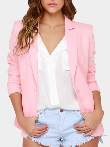 Pink Long Sleeves One Button Closure Blazer