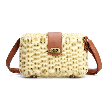 Beige Woven Shoulder Bag With Twist Lock