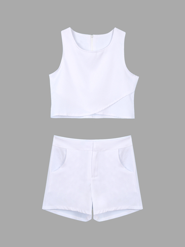 White Sleeveless Wrap Crop Top & Buckle Shorts Co-ord