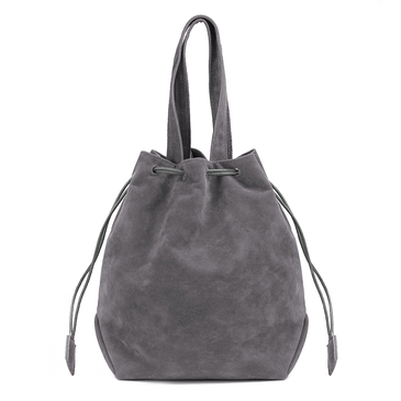 Grey Suede-look Drawstring Bucket Bag